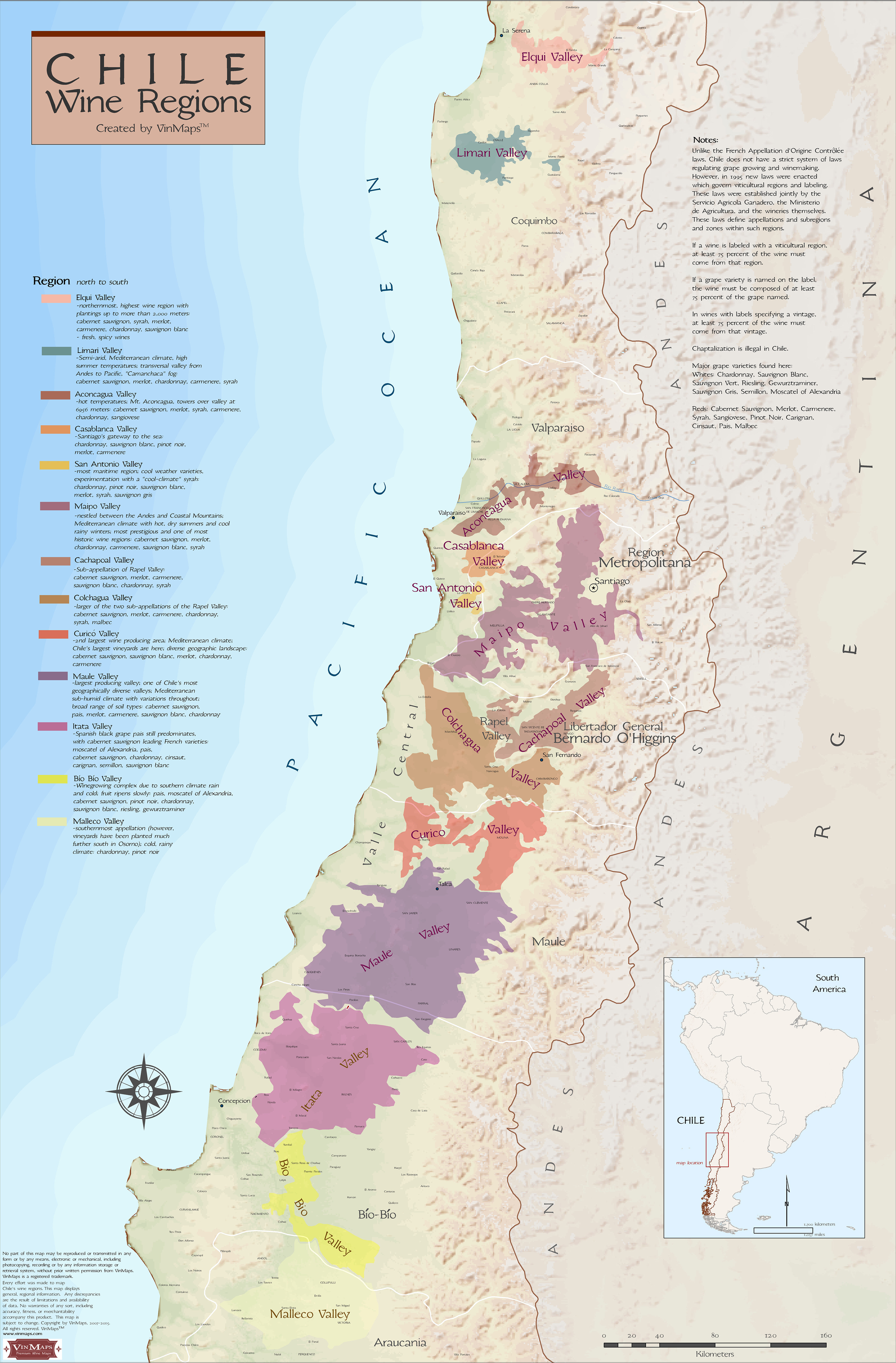 Wine Regions Of Chile - Chile regions map