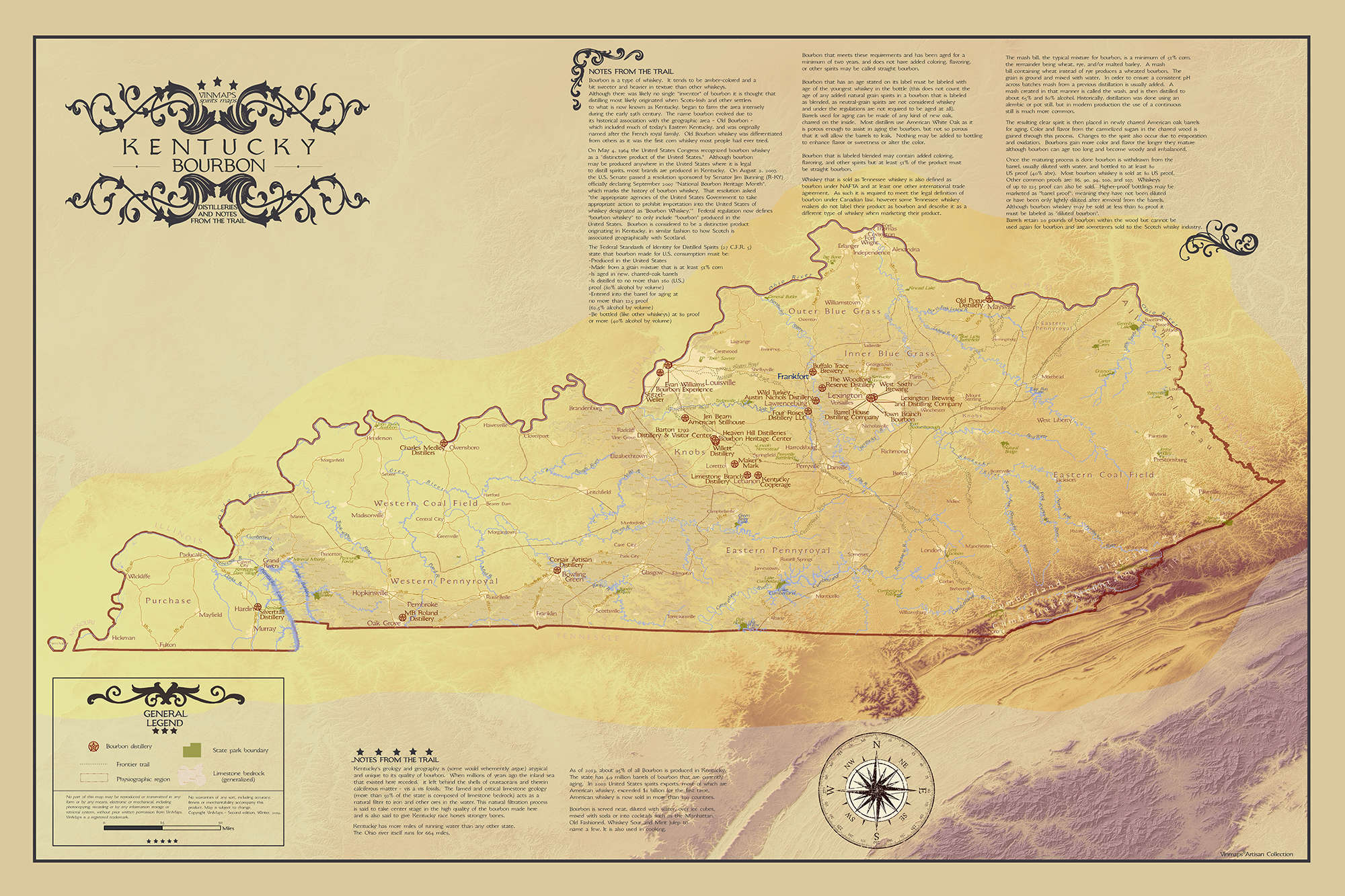 Kentucky Bourbon Distilleries With Notes From the Trail Map
