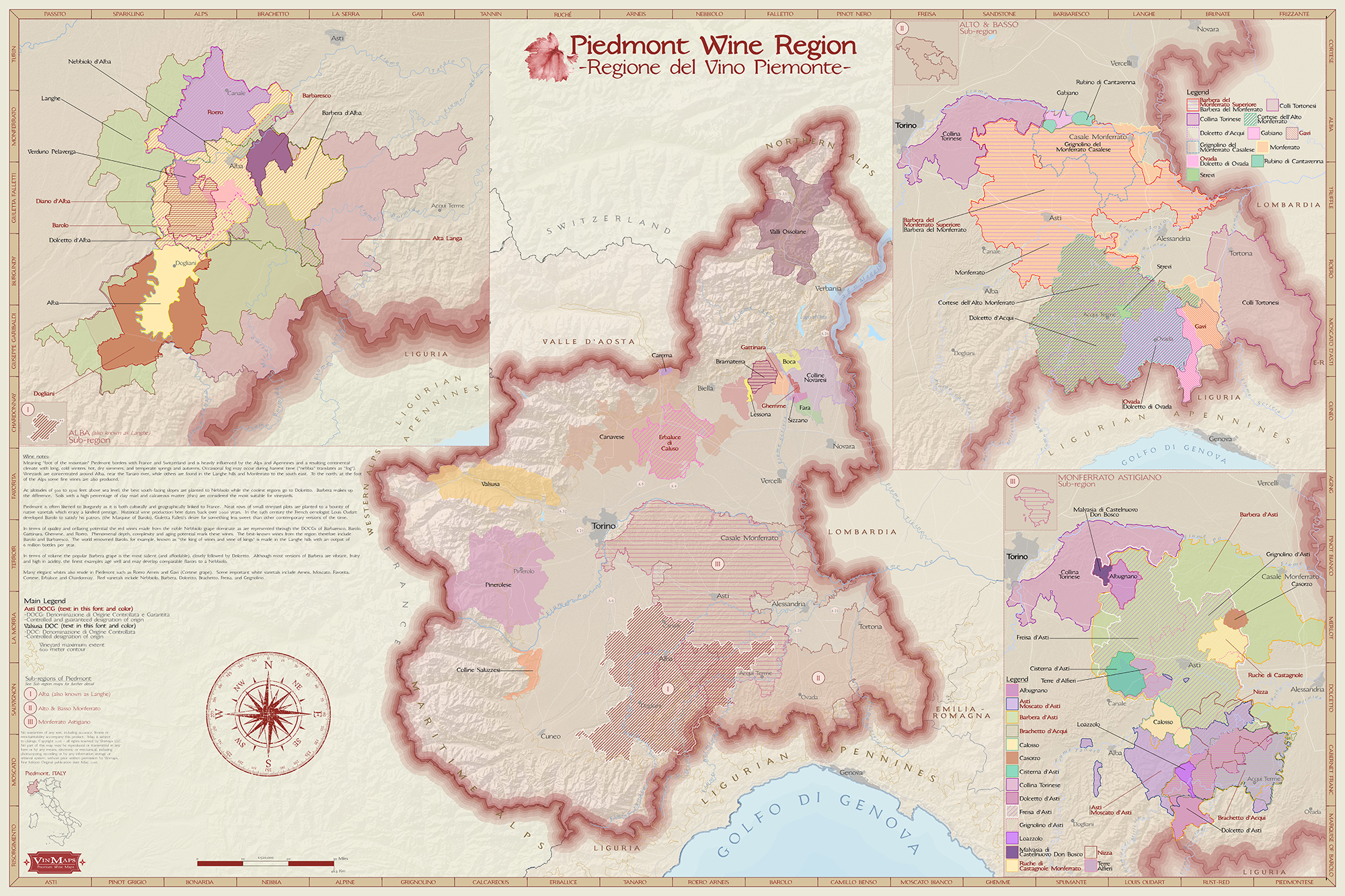 Wine Region Italy Map.Italy Piedmont Wine Region Map
