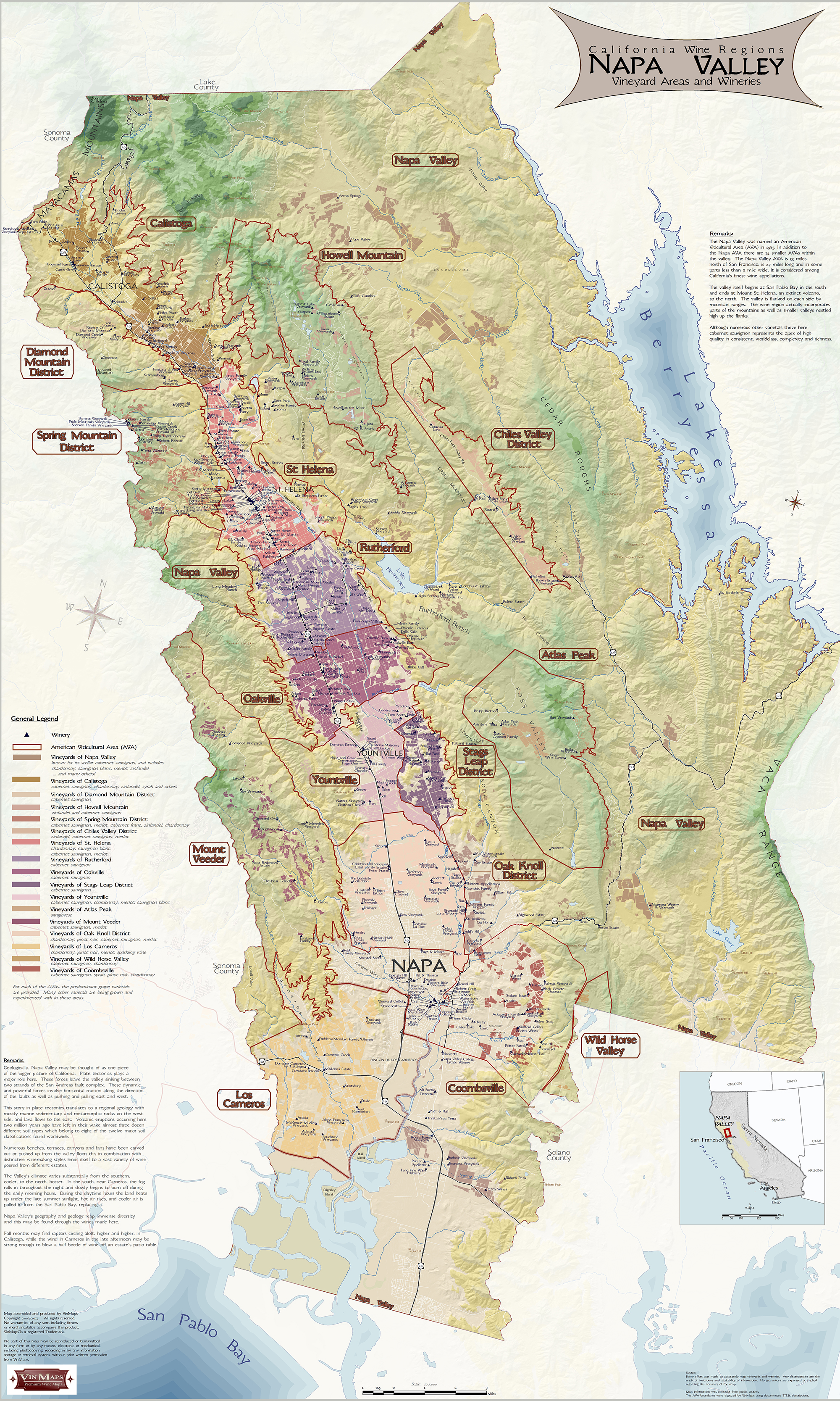 hover to zoom. napa valley wine map  best napa valley wine map