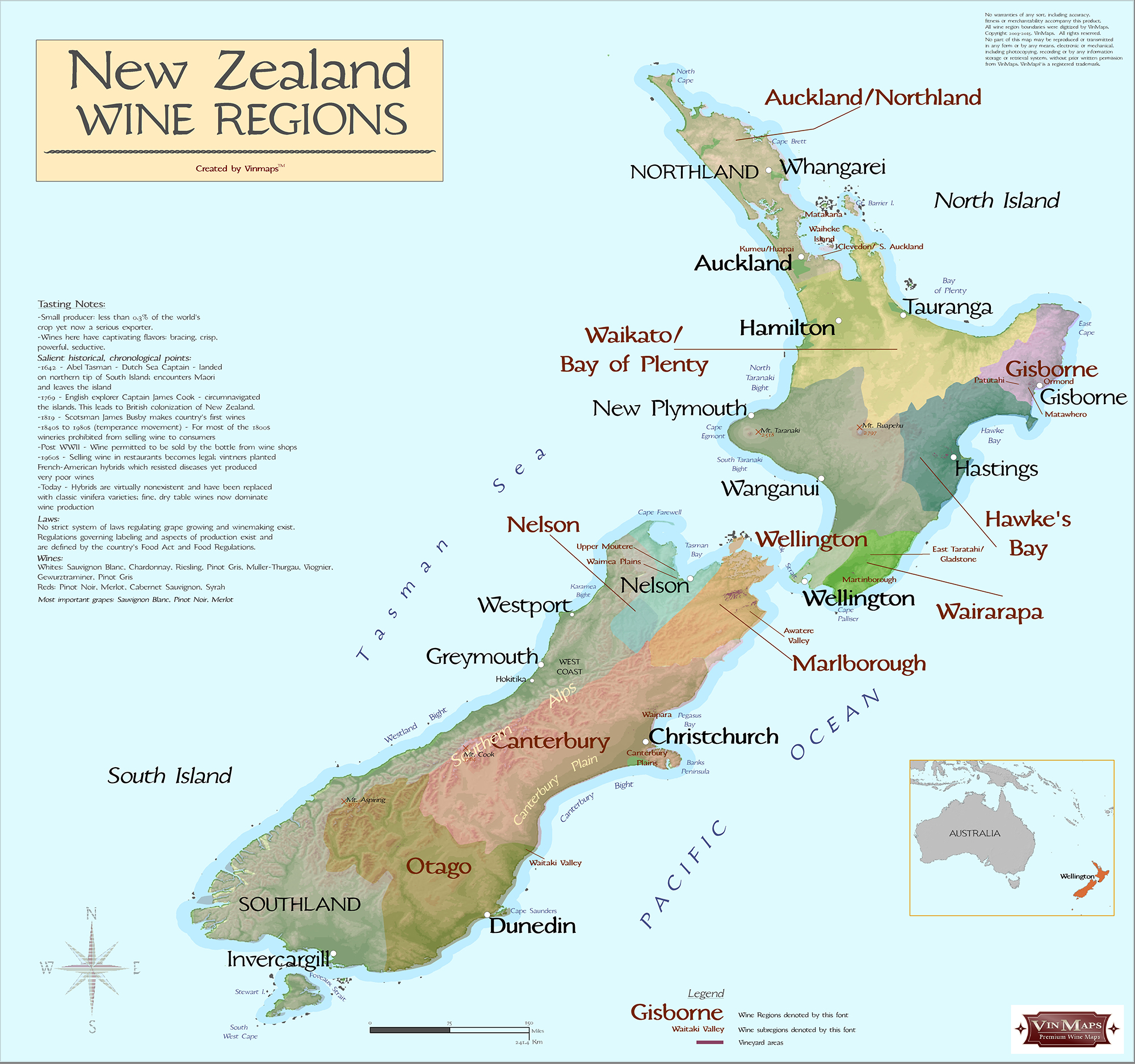 Printable Map New Zealand.New Zealand Wine Regions