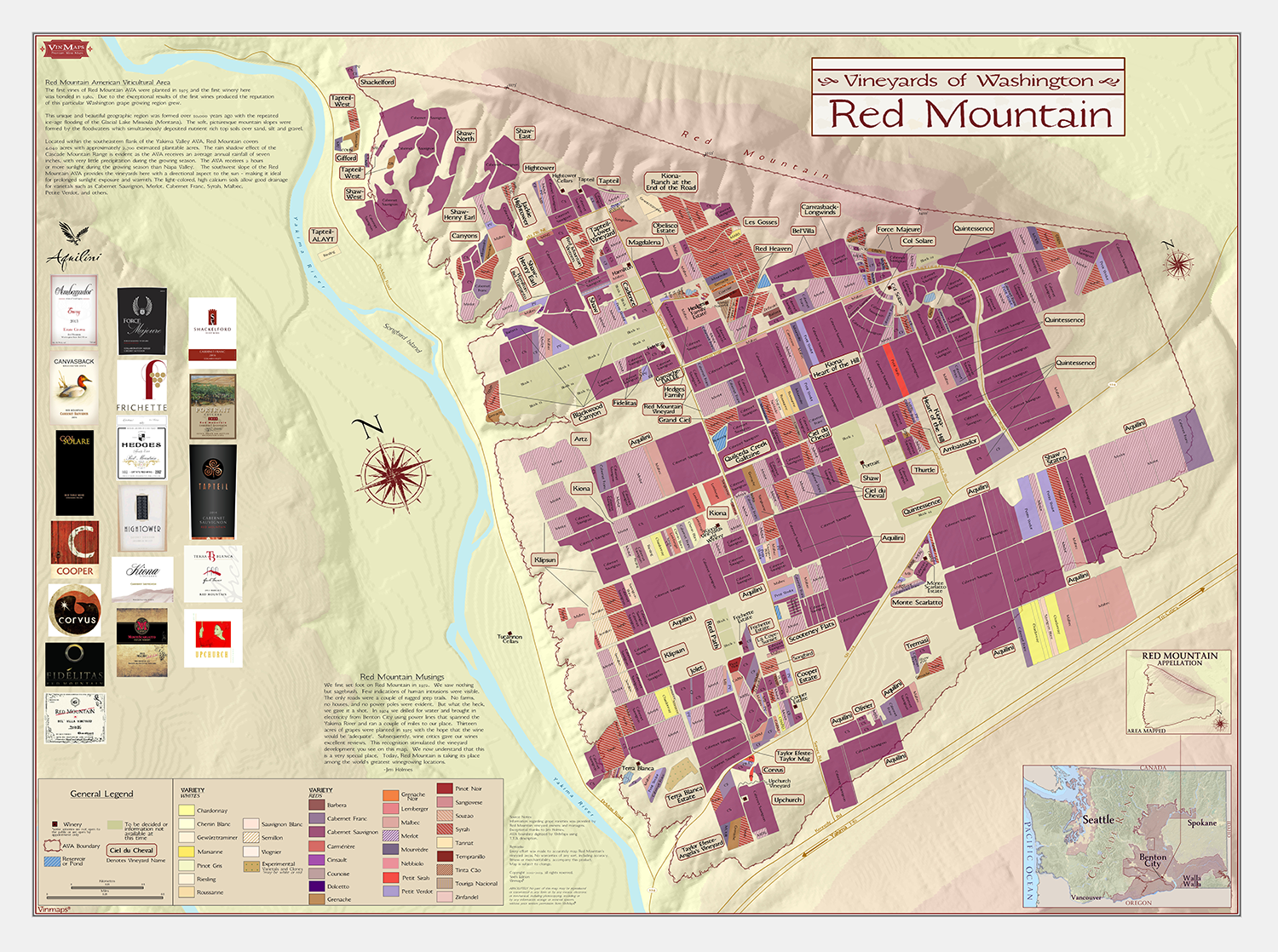 Washington Vineyards Map: Red Mountain – Sixth Edition on map of spain and portugal wine, blank map of french wine regions, districts of italy wine,