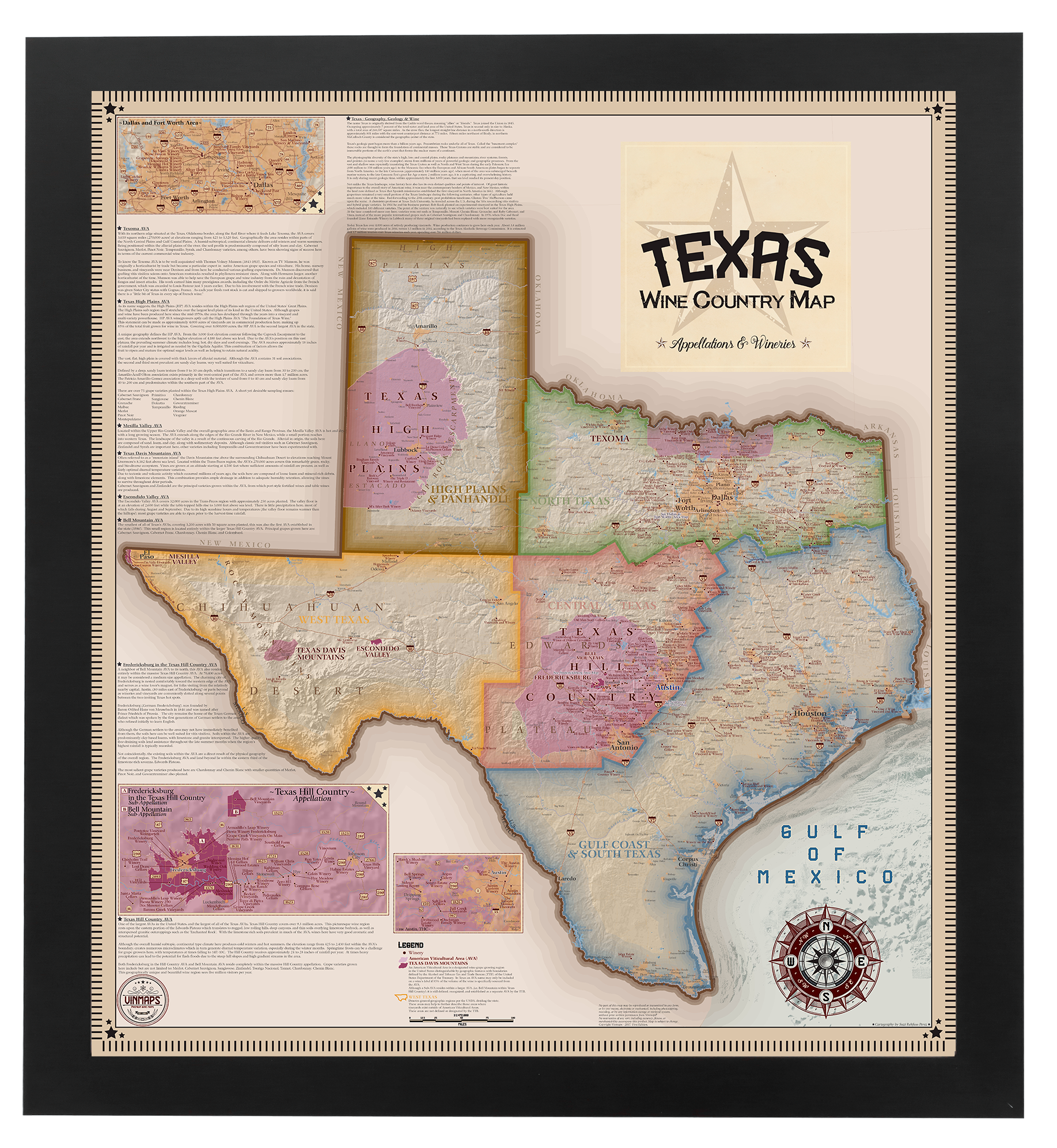 Texas Wine Country Map, Appellations & Wineries - Framed and ...