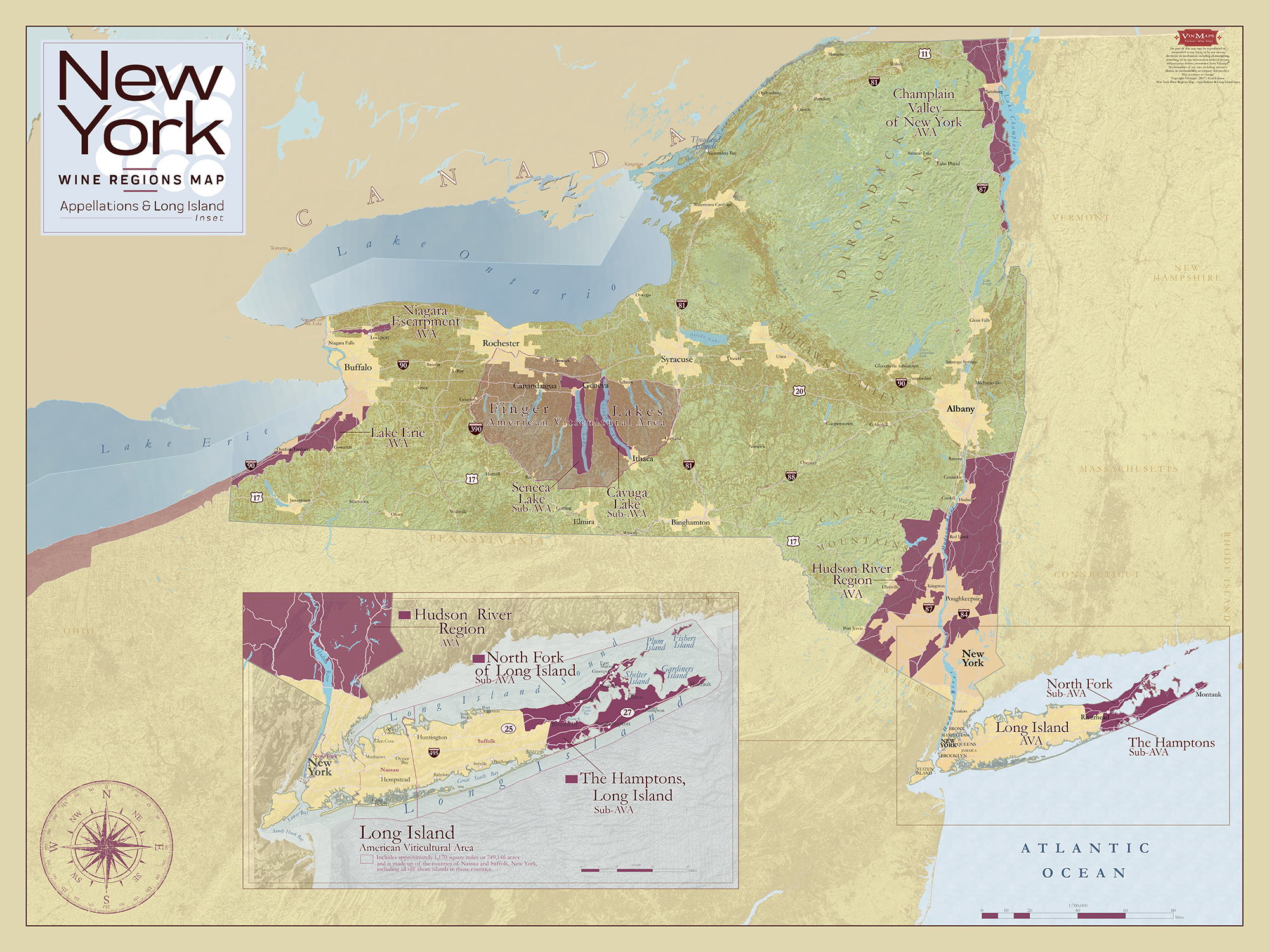 Map Of New York And Long Island.New York Wine Regions Map Appellations Long Island Inset