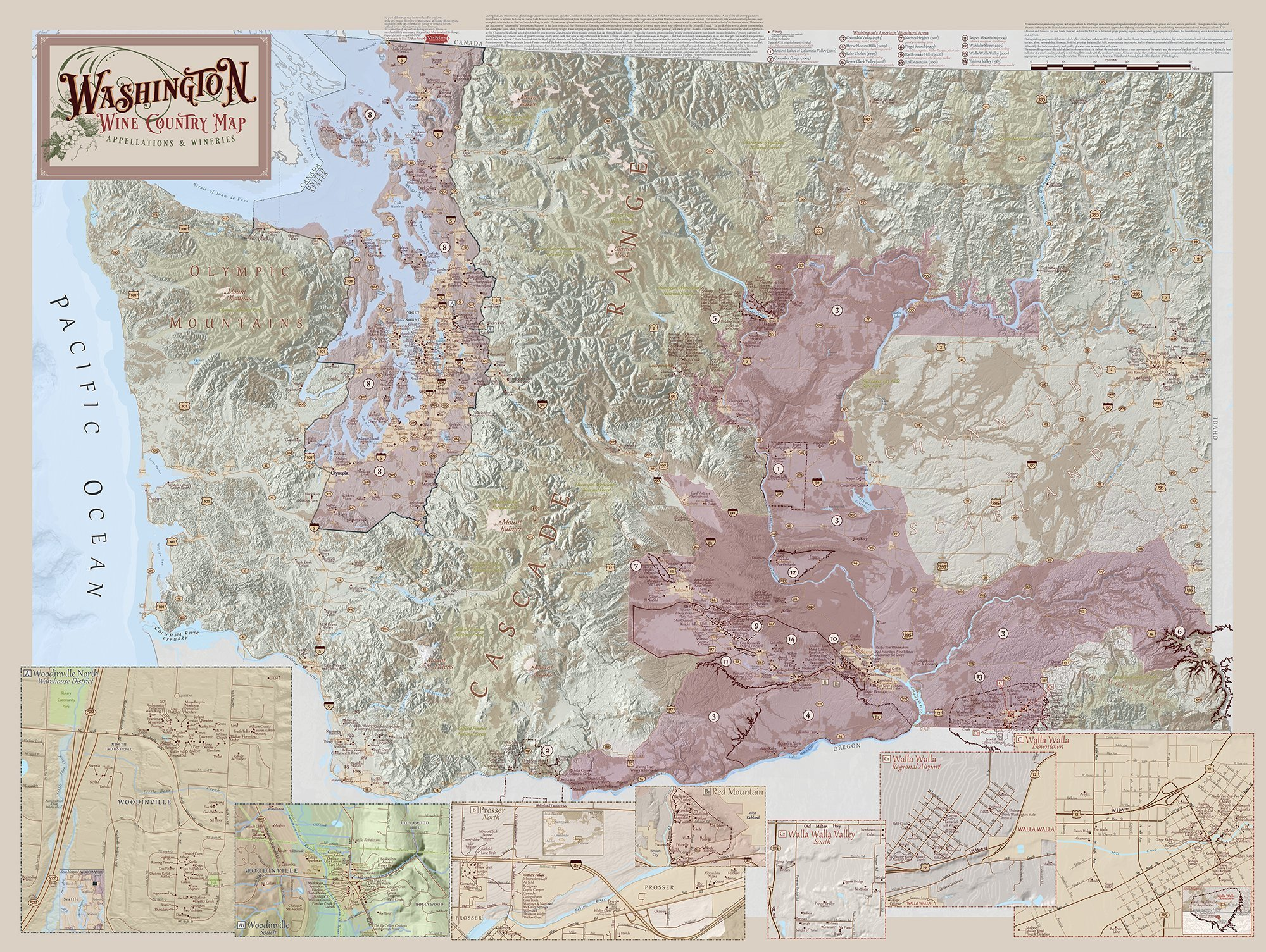 graphic relating to Printable Maps of Washington State titled Washington Place Wine Parts Map Fourth Version