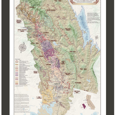Napa Valley wine map framed
