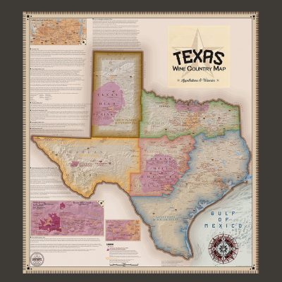 Framed Texas Wine Country Map