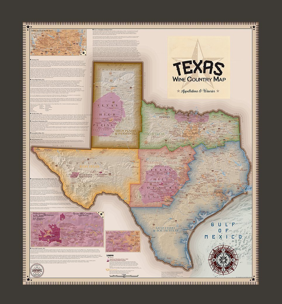 Map Of Texas Wineries.Texas Wine Country Map Appellations Wineries Framed Vinmaps