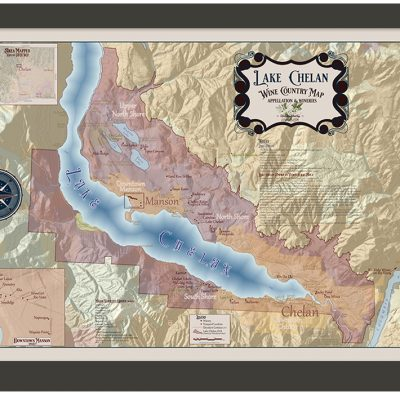 Lake Chelan Wine Map Framed