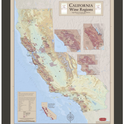 California Wine Regions Framed