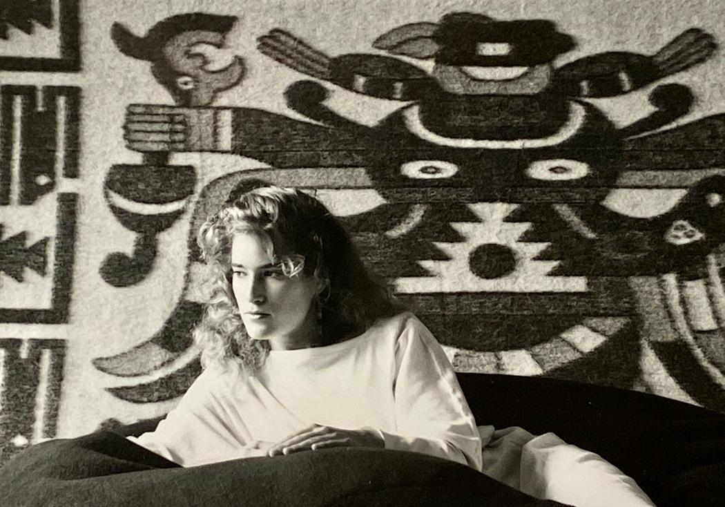 Suzi-with-Peruvian-rug-mid-1980s