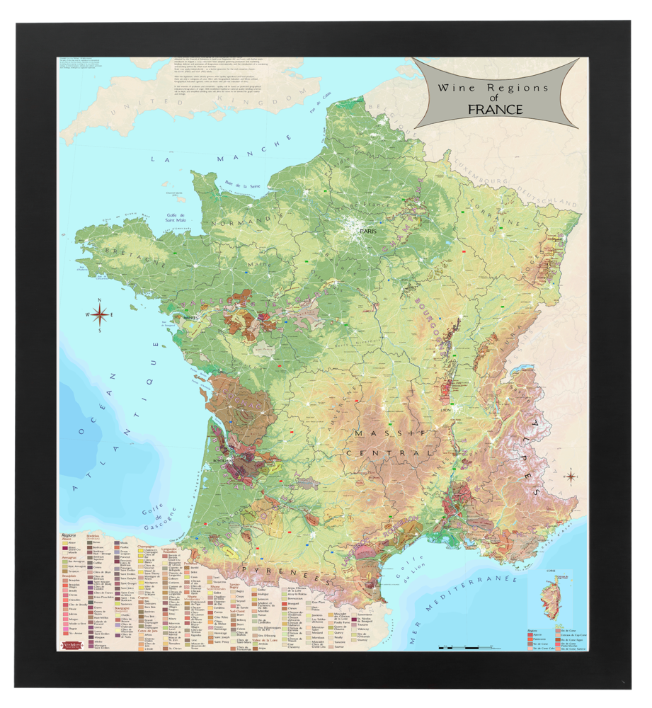 Wine Regions of France Framed Map - Unmatted