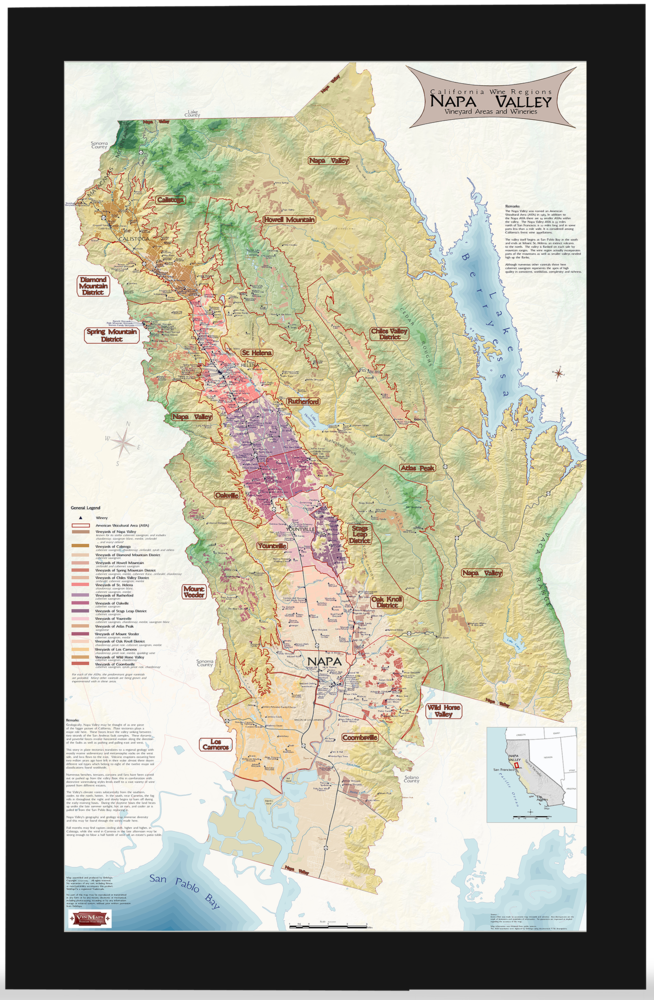 Wine Regions of Napa Valley Framed Map - Unmatted