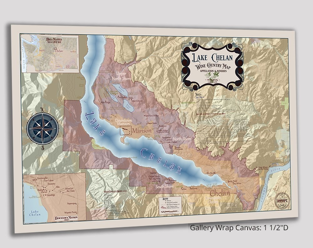 Lake Chelan Wine Country Map – Appellation & Wineries - Gallery Wrapped  Canvas