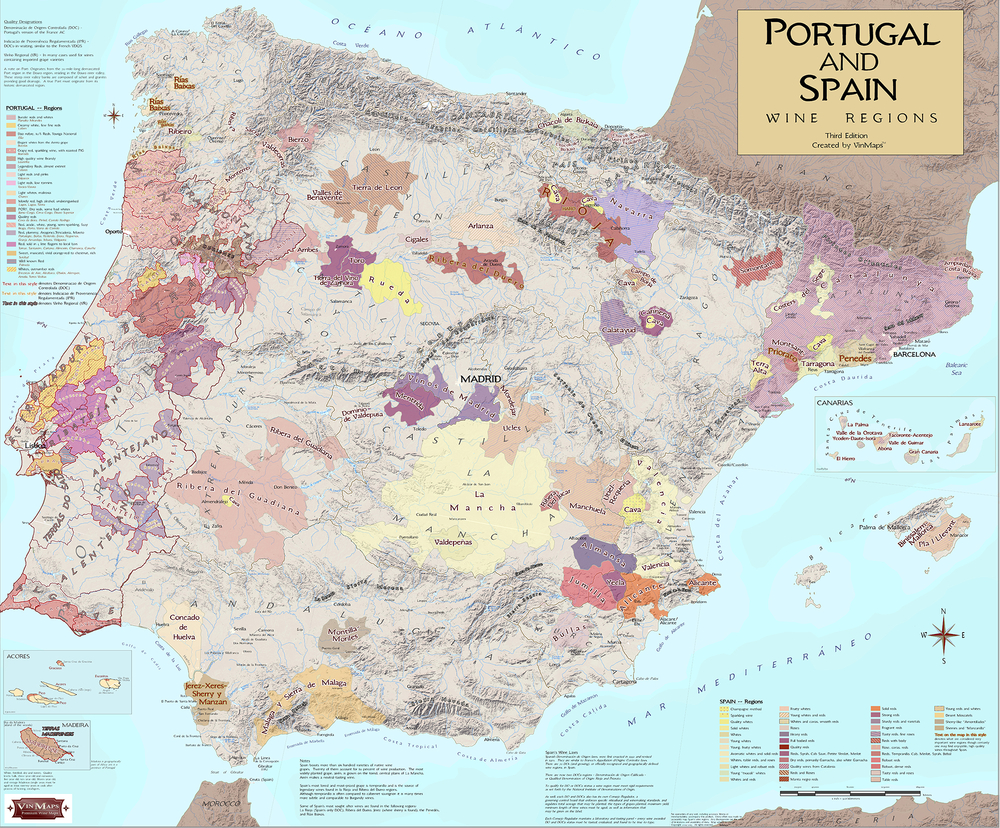 WIne map Portugal and Spain
